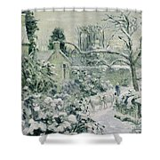 Effect of Snow with Cows at Montfoucault Shower Curtain by Camille Pissarro
