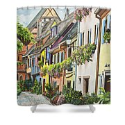 Eguisheim In Bloom Shower Curtain by Charlotte Blanchard