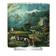 Emigrants Crossing The Plains Shower Curtain by Currier and Ives