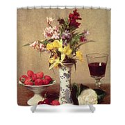 Engagement Bouquet Shower Curtain by Ignace Henri Jean Fantin-Latour