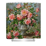 English Elegance Roses in a Silver Vase Shower Curtain by Albert Williams