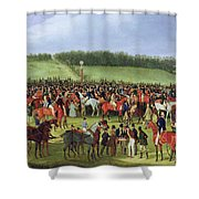 Epsom Races - The Betting Post Shower Curtain by James Pollard