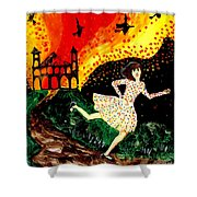 Escape From The Burning House Shower Curtain by Sushila Burgess