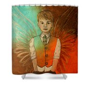 Ethan Little Angel Of Strength And Confidence Shower Curtain by The Art With A Heart By Charlotte Phillips