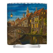Evening In Brugge Shower Curtain by Charlotte Blanchard