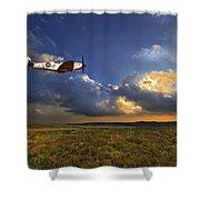 Evening Spitfire Shower Curtain by Meirion Matthias
