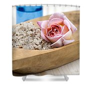 Exfoliating Body Scrub From Sea Salt And Rose Petals Shower Curtain by Frank Tschakert