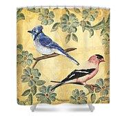 Exotic Bird Floral And Vine 1 Shower Curtain by Debbie DeWitt