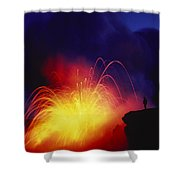 Exploding Lava And Person Shower Curtain by Greg Vaughn - Printscapes
