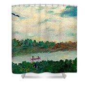 Exploring Our Lake Shower Curtain by Naomi Gerrard