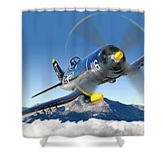 F4-u Corsair Shower Curtain by Larry McManus