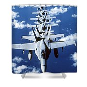 Fa-18c Hornet Aircraft Fly In Formation Shower Curtain by Stocktrek Images
