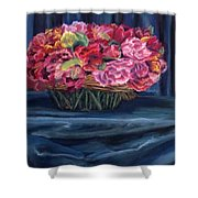 Fabric And Flowers Shower Curtain by Sharon E Allen