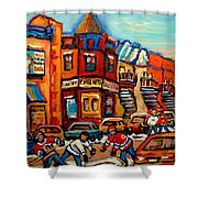 Fairmount Bagel With Hockey Shower Curtain by Carole Spandau