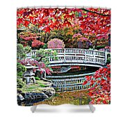 Fall Bridge in Manito Park Shower Curtain by Carol Groenen