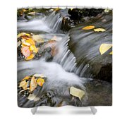 Fall Leaves In Rushing Water Shower Curtain by Craig Tuttle