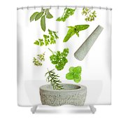 Falling Herbs Shower Curtain by Amanda Elwell