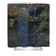 Falls Woodcut Shower Curtain by David Lane