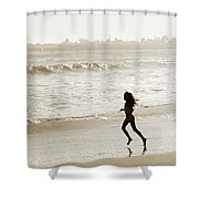 Family At Play On Beach Shower Curtain by Marilyn Hunt
