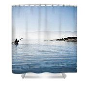 Faraway Kayaker In Morro Bay Shower Curtain by Bill Brennan - Printscapes