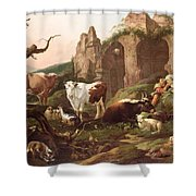 Farm Animals In A Landscape Shower Curtain by Johann Heinrich Roos