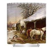 Farmyard in Winter  Shower Curtain by Henry Woollett
