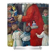 Father Christmas With Children Shower Curtain by Karl Roger