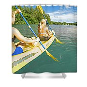 Female Kayakers Shower Curtain by Kicka Witte - Printscapes