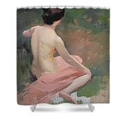 Female Nude Shower Curtain by Jules Ernest Renoux