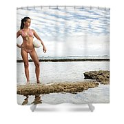 Female With Volleyball Shower Curtain by Brandon Tabiolo - Printscapes