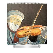 Fiddler Blue Shower Curtain by J Bauer