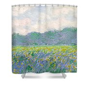 Field Of Yellow Irises At Giverny Shower Curtain by Claude Monet