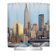 Fire Boat And Manhattan Skyline IIi  Shower Curtain by Clarence Holmes