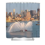 Fire Boat And Manhattan Skyline Iv Shower Curtain by Clarence Holmes