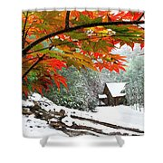 Fire Fog And Snowy Fence Shower Curtain by Debra and Dave Vanderlaan