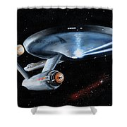 Fire Phasers Shower Curtain by Kim Lockman