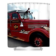 Fire Truck Selfridge Michigan Shower Curtain by LeeAnn McLaneGoetz McLaneGoetzStudioLLCcom