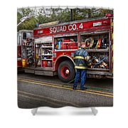 Firemen - The Modern Fire Truck Shower Curtain by Mike Savad