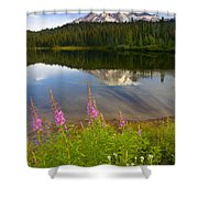 Fireweed Reflections Shower Curtain by Mike  Dawson