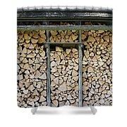Firewood Stack Shower Curtain by Frank Tschakert