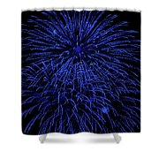 Firework Blues Shower Curtain by DigiArt Diaries by Vicky B Fuller