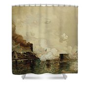 First Fight Between Ironclads Shower Curtain by Julian Oliver Davidson