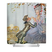 First Love Shower Curtain by Konstantin Andreevic Somov