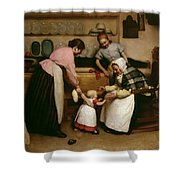 First Steps Shower Curtain by George Hall Neale