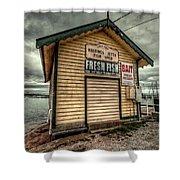 Fish Shed Shower Curtain by Wayne Sherriff