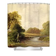 Fishing - Playing a Fish Shower Curtain by William E Jones