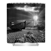 Fishing Boat Graveyard 7 Shower Curtain by Meirion Matthias