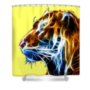 Flaming Tiger Shower Curtain by Shane Bechler