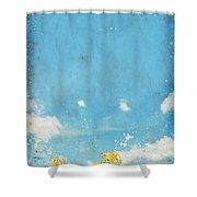 floral in blue sky and cloud Shower Curtain by Setsiri Silapasuwanchai