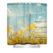 Floral In Blue Sky Postcard Shower Curtain by Setsiri Silapasuwanchai